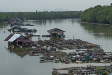 Rivers were often dotted with floating houses and fishing huts